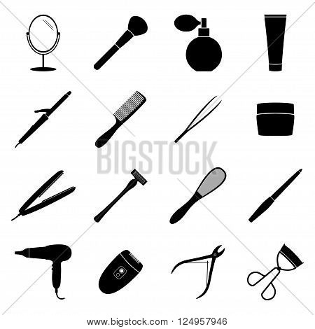 Set of black beauty icons on white background, vector illustration