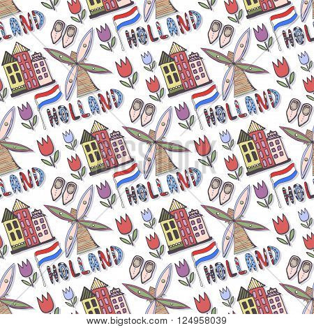 Doodle sketched Holland seamless pattern with windmill and house. Netherlands background for design. Vector illustration