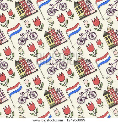 Holland doodles vector background. Netherlands seamless pattern for design. Vector illustration.