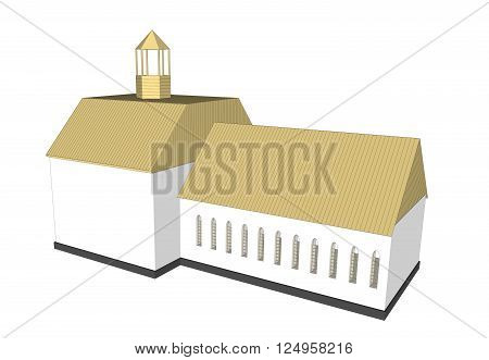 Vector building 3d Church  on white background icon art.