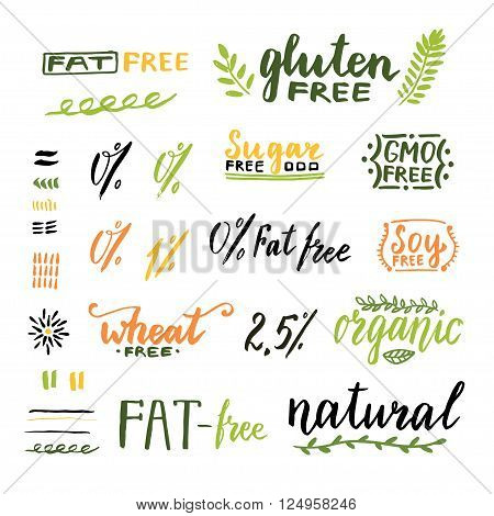Badges and labels for homemade natural products. Gmo gluten fat wheat and sugar free handwritten texts. Vector design.