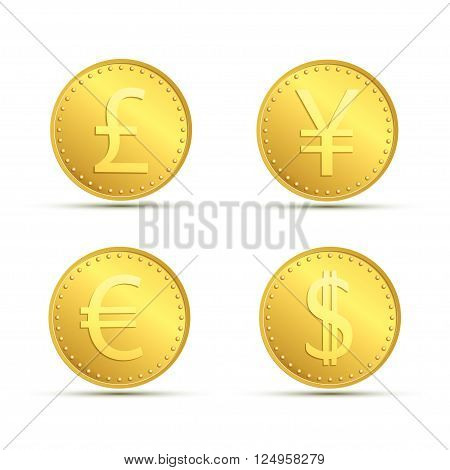 Set icons of gold coins. Currency dollar euro pound sterling and yen. Stock vector illustration.