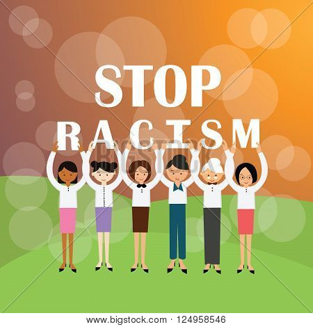 stop racism multi ethnicity group of people holding sign againts racial discrimination movement vector