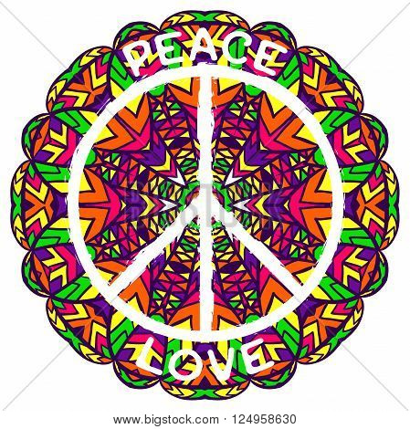 Hippie peace symbol. Peace and love on ornate colorful mandala background. Design concept for banner, card, scrap booking, t-shirt, bag, print, poster. Retro hand drawn vector illustration