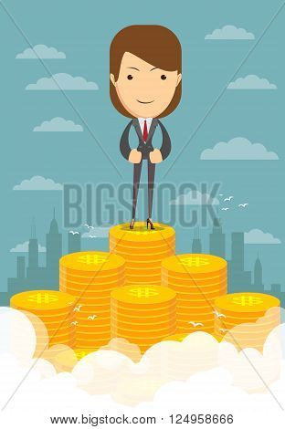 Happy super rich successful businesswoman raising from huge pile of money, vector illustration