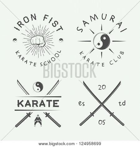 Set of vintage karate or martial arts logo emblem badge label and design elements in retro style. Illustration