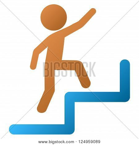 Child Steps Upstairs vector toolbar icon for software design. Style is a gradient icon symbol on a white background.