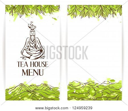 Green tea menu template. Zen monk with teapot logo. Tea banner collection.