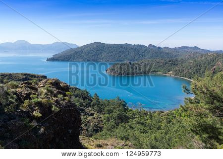 Scenic bay near to Marmaris, Turkey, view from above
