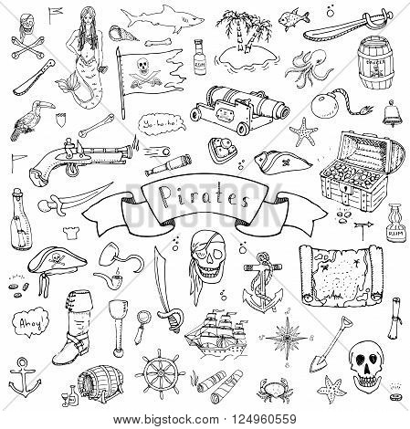 Hand drawn doodle Pirate icons set Vector illustration pirate symbols collection Cartoon piracy concept elements Pirate hat Treasure chest Black flag Skull Crossbones Compass Pirate costume elements