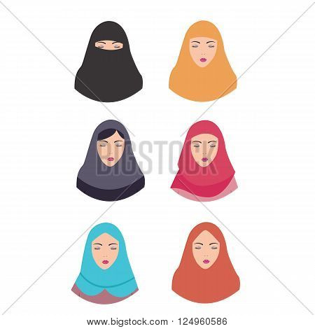 woman wear hijab veil islam tradition islamic illustration vector headscarf vector