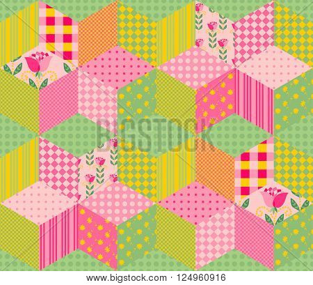 Seamless patchwork pattern in pink and green tones. Vector illustration of quilt.