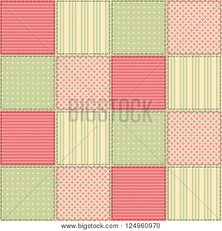 Seamless patchwork pattern from square patches in green and pink tones. Elegant vector illustration. Quilting design background.