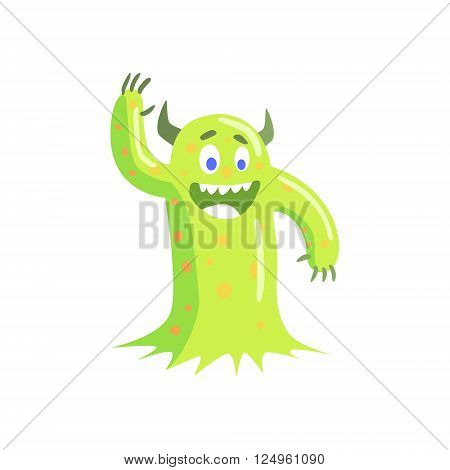 Green Mucus Childish Monster Flat Cartoon Style Isolated Vector Design Print On White Background