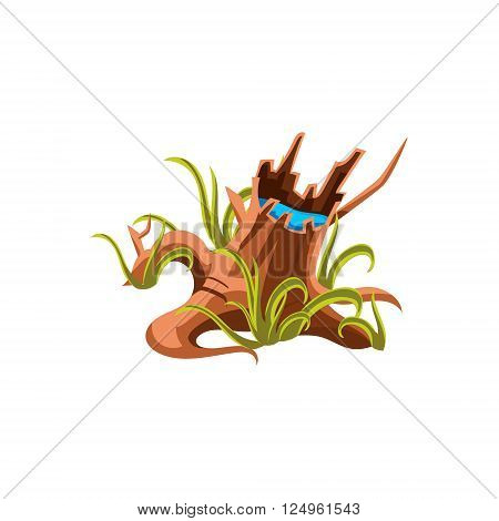Old Stump With Water Flat Vector Design Isolated  Icon  On White Background