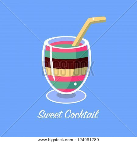 Many Layers Cocktail Cartoon Style Flat Vector Design Illustration With Text
