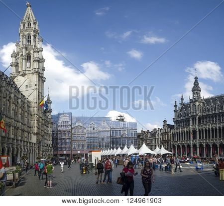 BRUSSELS - SEPTEMBER 3 2014: Big panorama of Grand Place of Brussels. Belgium