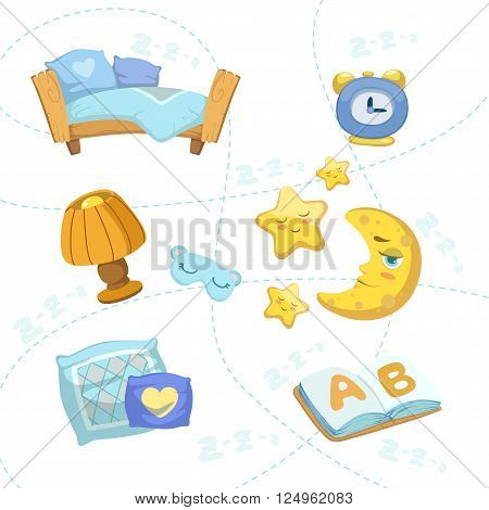 Child Bedroom Objects Set Of  Flat Cartoon Style Vector Design Icons