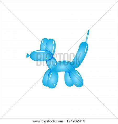 Classic Blue Balloon Dog Realistic Vector Illustration Isolated On White Background