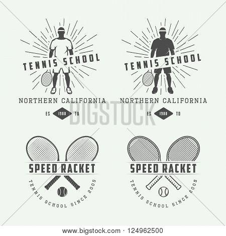 Set of vintage tennis logos emblems badges labels and design elements. Vector Illustration