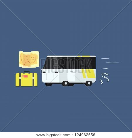 White Touristic Bus Primitive Graphic Style Flat Vector Icon On Blue Background