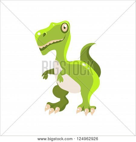 Green Tyrannosaurus Flat Vector Illustration In Primitive Cartoon Style Isolated On White Background