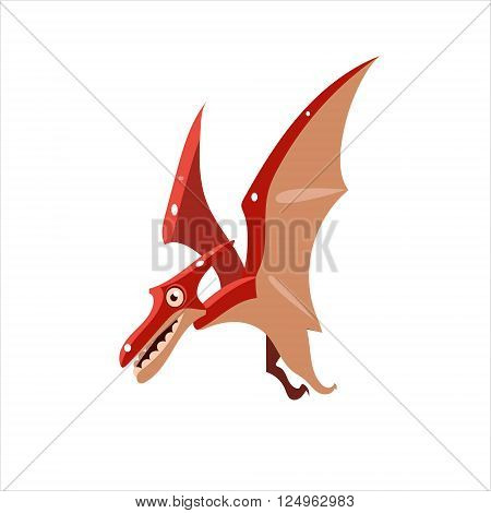 Pterodactyl Mid-air Flat Vector Illustration In Primitive Cartoon Style Isolated On White Background