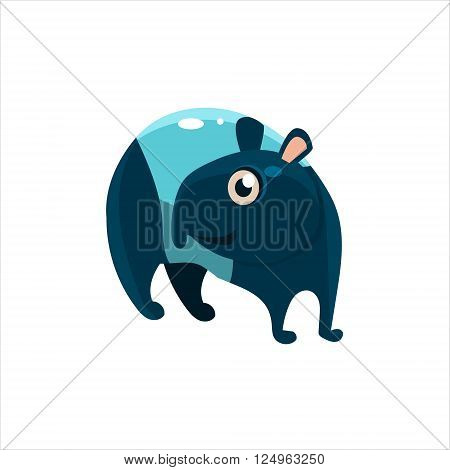Blue Tapir Flat Vector Illustration In Primitive Cartoon Style Isolated On White Background