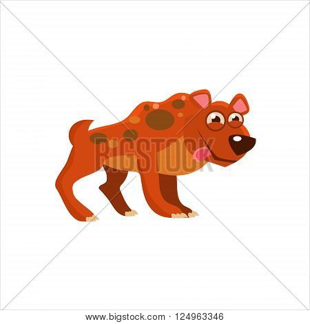 Hyena With Tongue Out Flat Vector Illustration In Primitive Cartoon Style Isolated On White Background