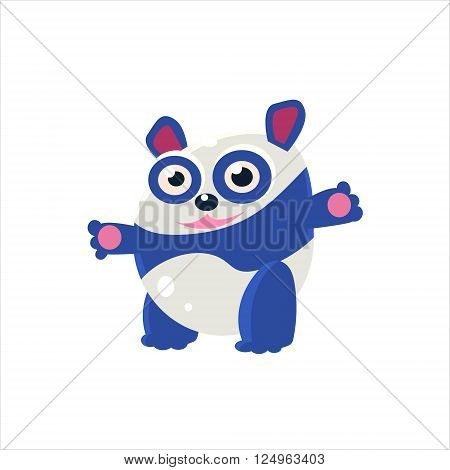 Blue Panda Bear Flat Vector Illustration In Primitive Cartoon Style Isolated On White Background