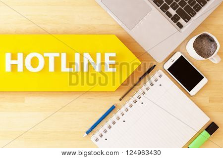 Hotline - linear text arrow concept with notebook smartphone pens and coffee mug on desktop.3D rendering,