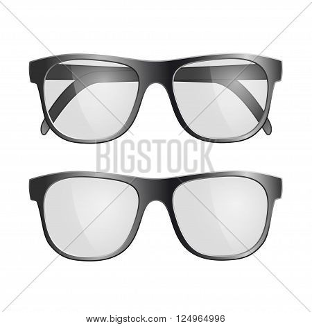 Set of black glasses. Isolated on white background. Stock vector illustration.