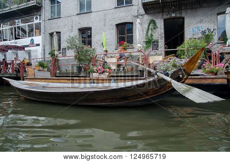 GENT BELGIUM - SEPTEMBER 9 2014: Boat on the water in Ghent