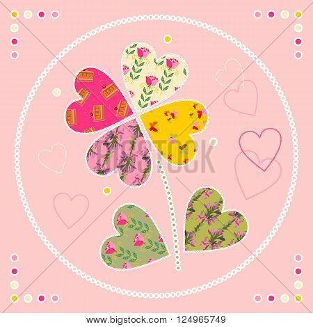 Cute card with flower as patch applique. Vector illustration.