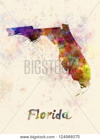 Florida Us State In Watercolor