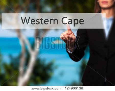 Western Cape - Businesswoman Hand Pressing Button On Touch Screen Interface.