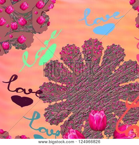 Festive design greeting card with flowers tulips with the word Love and hearts