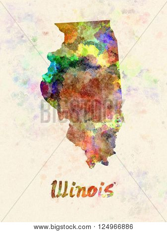 Illinois US state poster in watercolor background