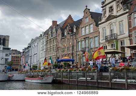 GENT, BELGIUM - SEPTEMBER  9, 2014: Medieval houses along water canal the old town of Ghent, Belgium