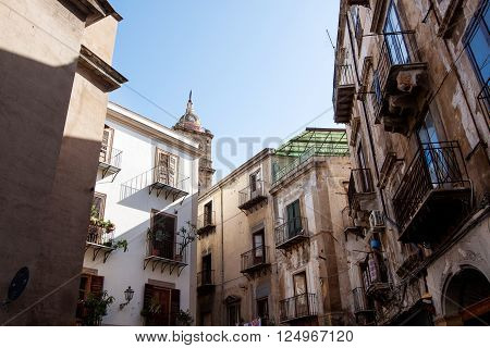 Houses city street in Palermo Italy .