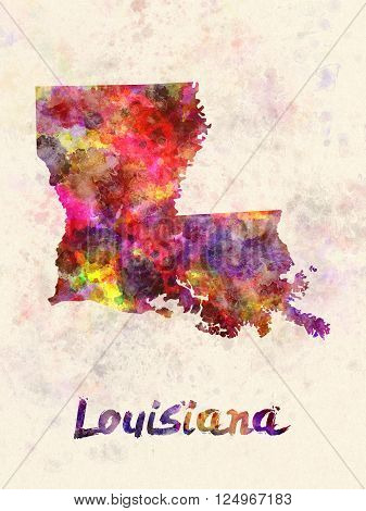 Louisiana US state poster in watercolor background