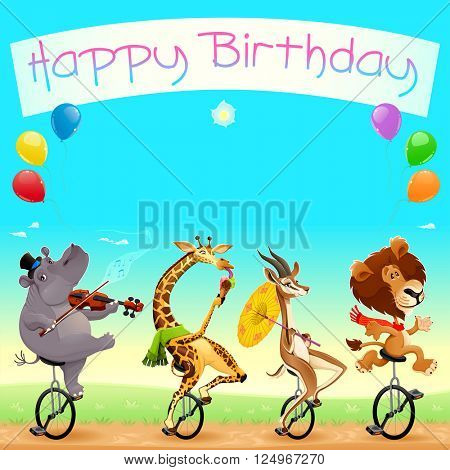Happy Birthday card with funny wild animals on unicycles. Vector cartoon illustration