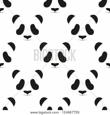 Panda head seamless pattern. Animal seamless pattern. Asian bear seamless pattern