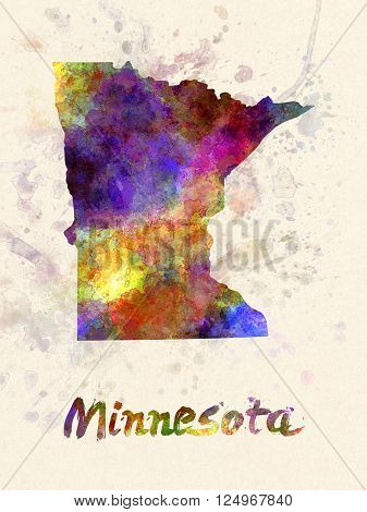 Minnesota US state poster in watercolor background