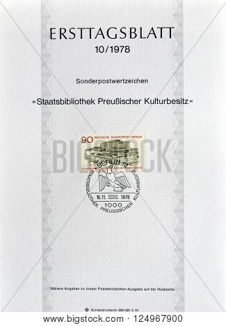 GERMANY - CIRCA 1978 : Cancelled First Day Sheet printed by Germany, that shows State library.