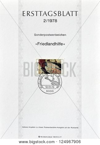 GERMANY - CIRCA 1978 : Cancelled First Day Sheet printed by Germany, that shows Friedland camp.