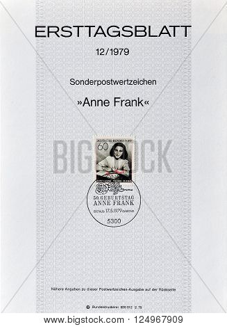 GERMANY - CIRCA 1979 : Cancelled First Day Sheet printed by Germany, that shows Anne Frank.