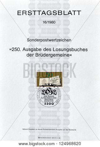 GERMANY - CIRCA 1980 : Cancelled First Day Sheet printed by Germany, that shows The Daily Watchwords.
