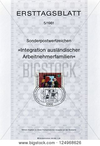 GERMANY - CIRCA 1981 : Cancelled First Day Sheet printed by Germany, that shows German family visiting foreigners family.