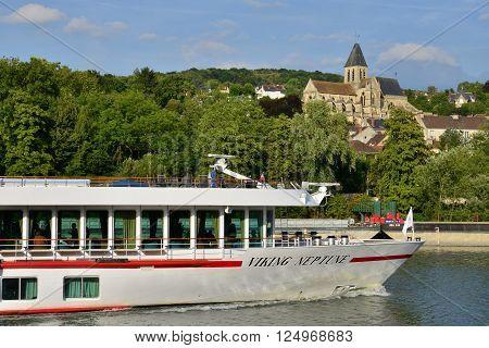 Triel sur Seine France - august 10 2015 : a boat on seine river in summer